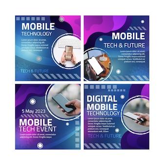 Posty na instagramie z technologią mobilną