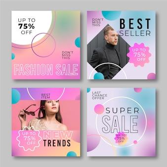 Posty na instagramie ze sprzedażą gradientową