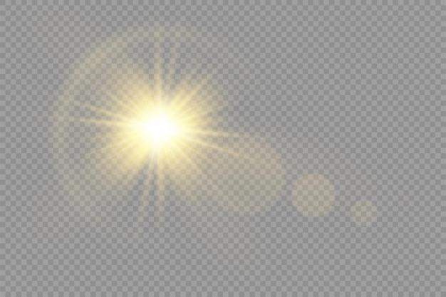 Poświata jasna gwiazda świecące światło rozbłyskuje żółte promienie słoneczne rozbłysk słońca