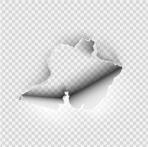 Poszarpana dziura rozdarta w podartym papierze na przezroczystym tle