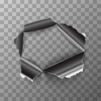 Poszarpana dziura w błyszczącym metalowym talerzu na przezroczystym tle