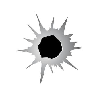 Poszarpana dziura w metalu lub papierze po kuli. uszkodzenie lub pęknięcie na powierzchni w kolorze monochromatycznym. ilustracja wektorowa na białym tle