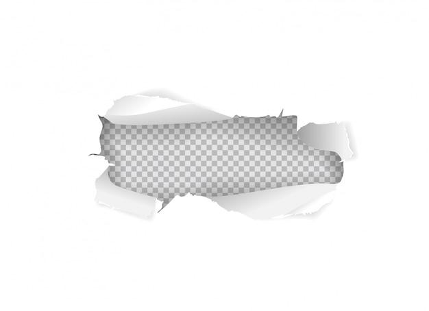 Poszarpana papierowa dziura w białym prześcieradle odizolowywającym
