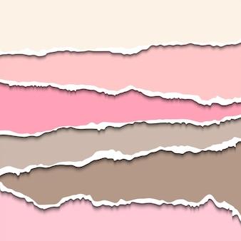 Poszarpane paski papieru z rozerwanymi krawędziami realistyczna ilustracja