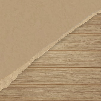 Poszarpany brązowy papier teksturujący na drewnianej ścianie deski.