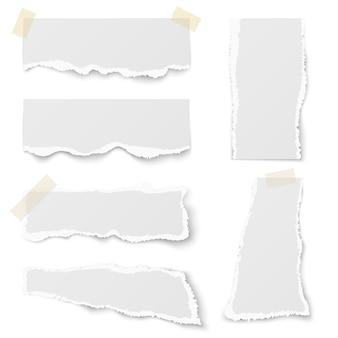 Poszarpany nutowy papier z adhezyjnej taśmy wektoru setem