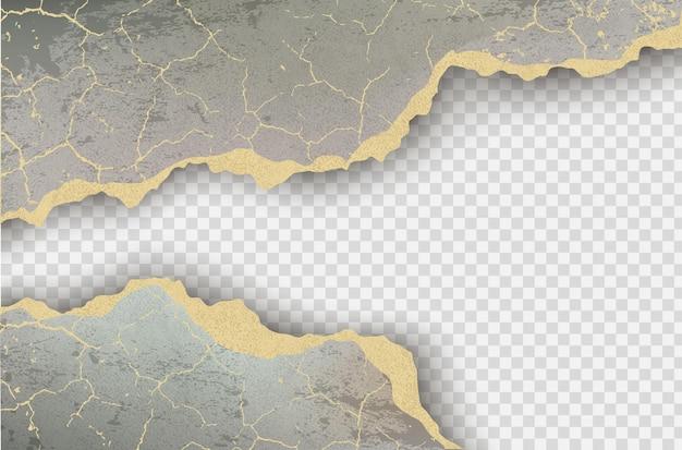 Poszarpany otwór rozdarty w podartym papierze na przezroczystym