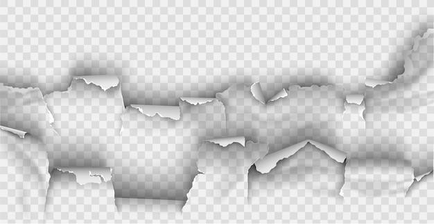 Poszarpany otwór rozdarty w podartym papierze