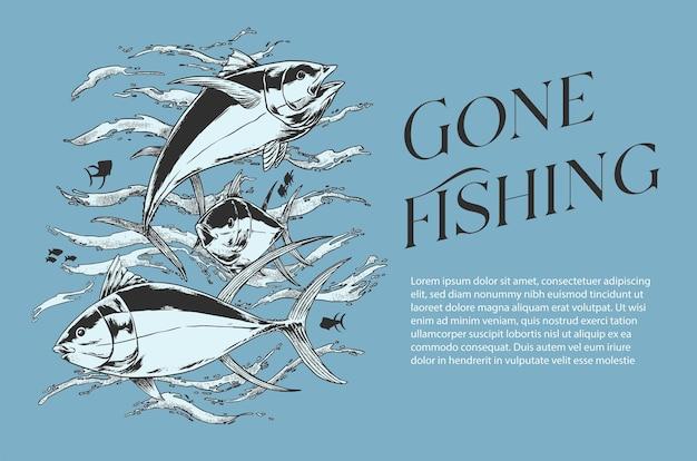 Poszedł łowić ryby z ilustracji wektorowych ryb do projektowania plakatów i koszulek lub do dowolnych celów