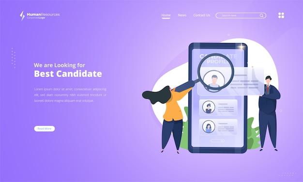 Poszukiwanie najlepszych kandydatów do otwartej rekrutacji ilustracja na landing page