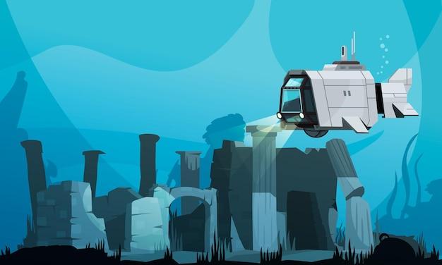 Poszukiwanie zalanej atlantydy pokolorowanej łodzią podwodną i starożytnymi ruinami na ilustracji kreskówki dna oceanu