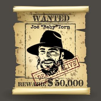 Poszukiwany plakat w stylu dzikiego zachodu