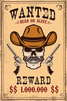 Poszukiwany szablon plakatu. kowbojska czaszka ze skrzyżowanymi rewolwerami. element projektu plakatu, karty, etykiety, znaku, karty ,.