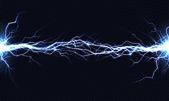 Potężne wyładowanie elektryczne uderzające z boku na bok realistyczne