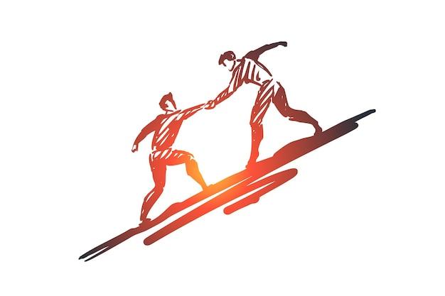 Potencjał, praca, wyzwanie, ręka, koncepcja ludzi. ręcznie rysowane jeden człowiek pomaga drugiemu wspiąć się na szkic koncepcyjny.