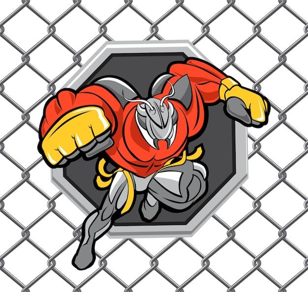 Potężna maskotka mrówka dla zespołu walki mma z tłem siatki ośmiokątnej areny walki