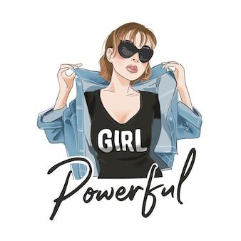 Potężne hasło z kreskówkową dziewczyną w koszulce i ilustracji kurtki