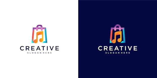 Potężne kolorowe logo sklepu muzycznego
