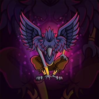 Potężny projekt e-sportowej maskotki orła na ilustracji