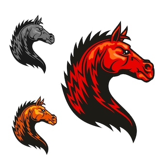 Potężny rysunek konia plemiennego ogiera dla klubu jeździeckiego