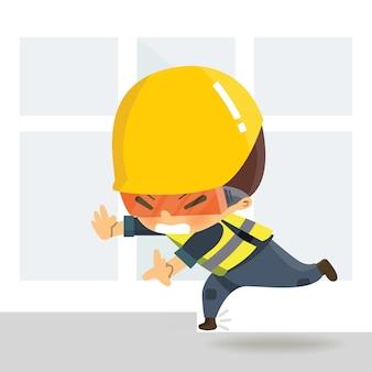 Potknięcia, pracownik konstruktora postaci w różnych sytuacjach. ilustracja, koncepcja: bezpieczeństwo i wypadek, bezpieczeństwo przemysłowe.