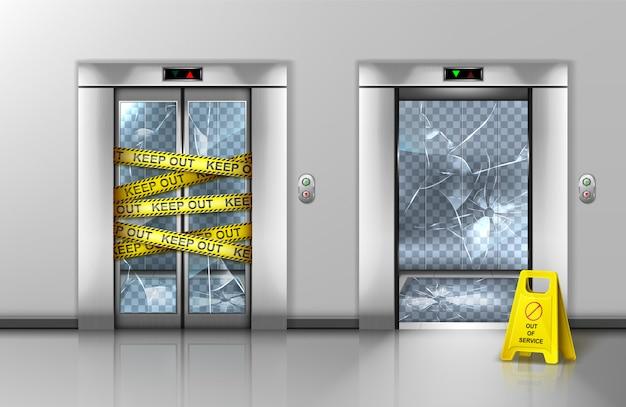 Potłuczone szklane windy zamknięte w celu konserwacji