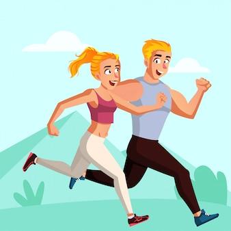 Potomstwo para biega w ranek ilustraci