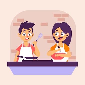 Potomstwo para gotuje domowej roboty jedzenie