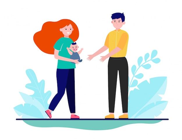 Potomstwo pary mienia dziecko w rękach