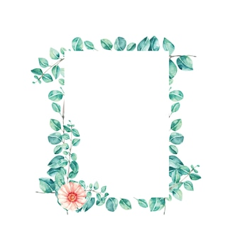 Potrait frame akwarela ilustracja liść eukaliptusa