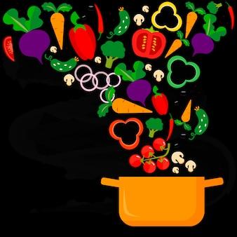 Potrawy warzywne i rondel. gotowanie jedzenia. ilustracji wektorowych.
