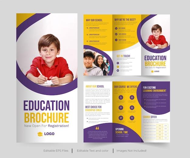 Potrójna broszura edukacyjna lub broszura dotycząca przyjęcia do szkoły lub przyjęcia do kolażu