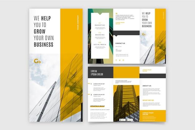 Potrójna broszura rozwijająca własny biznes
