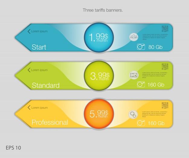 Potrójny baner do hostingu. banery z trzema taryfami. tabela cen internetowych. dla aplikacji internetowej. styl strzałki.