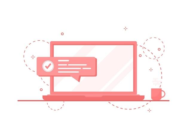Potwierdź komunikat powiadomienia jako znacznik wyboru na ekranie laptopa