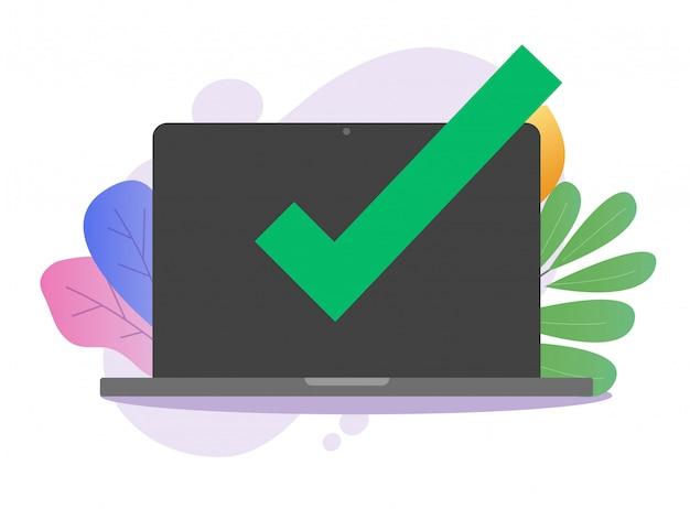 Potwierdź komunikat powiadomienia o znaku zaznaczenia na laptopie komputerowym za pomocą lub komputera z zatwierdzonym powiadomieniem znacznika wyboru
