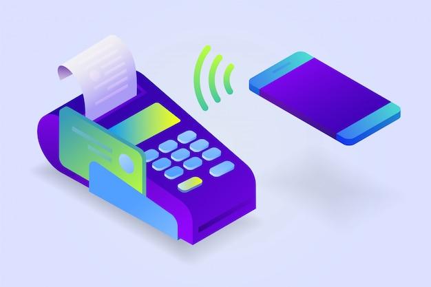 Potwierdza płatność przez telefon komórkowy, wydrukowany paragon sprzedaży. terminal pos, płatność rachunków elektronicznych. izometryczny