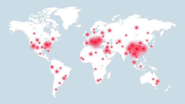 Potwierdzone przypadki covid-19 na mapie świata. informacje infograficzne, statystyki dotyczące choroby wirusowej na ziemi