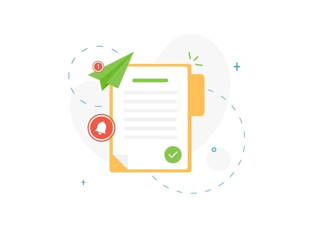 Potwierdzony dokument w otwartym folderze ze znacznikiem wyboru w płaskiej konstrukcji