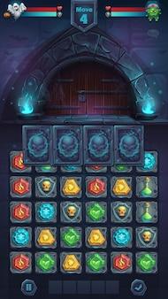 Potwór bitwa gui zamknięte drzwi pole gry mecz 3 - kreskówka stylizowane ilustracji wektorowych okno formatu mobilnego z przyciskami opcji, elementy gry.