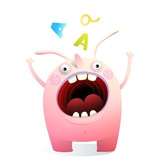 Potwór maskotka krzyczy wrzeszczące usta szeroko otwarte.