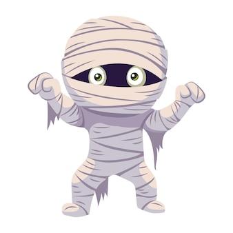 Potwór mumia na halloween. ilustracja kreskówka płaski wektor