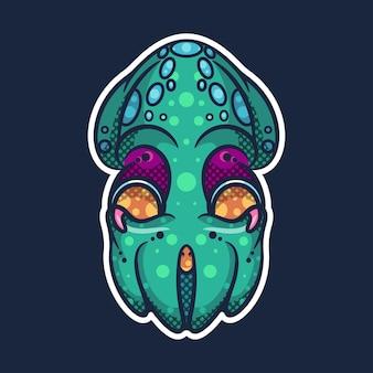 Potwór ośmiornica na ikonę naklejki postaci i ilustracji