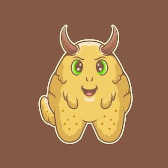 Potwór szczęśliwy kreskówka logo wektor