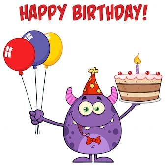 Potwór trzyma kolorowe balony i tort urodzinowy
