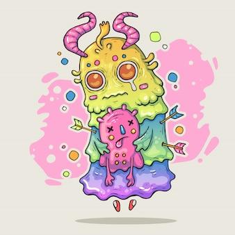 Potwór trzyma małe stworzenie. kreskówki ilustracja w komicznym modnym stylu.
