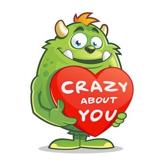 Potwór trzyma serce valentine z szalonym o tobie