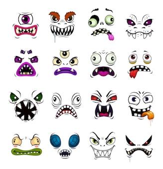 Potwór twarz śmieszne emotikony kreskówka. przerażające twarze zombie halloween, demona lub ducha, diabła, wampira lub bestii z różnymi emocjami, przerażające awatary z otwartymi ustami i złymi oczami