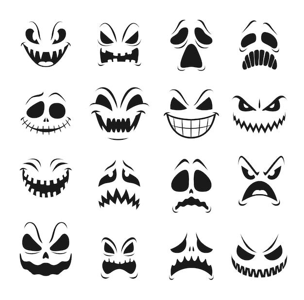 Potwór twarze zestaw świąt halloween horroru. straszne emotikony wściekłego zombie, diabła i demona, ducha, wampira i obcych, strasznych stworzeń o złych oczach, zębach i przerażających uśmiechach