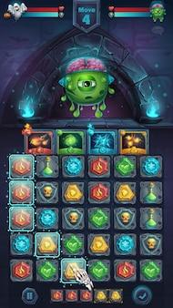 Potworny maniak bitwy z graficznym interfejsem użytkownika z polem gry dla mózgu, dopasuj 3 - kreskówka stylizowane ilustracji wektorowych okno formatu mobilnego z przyciskami opcji, elementy gry